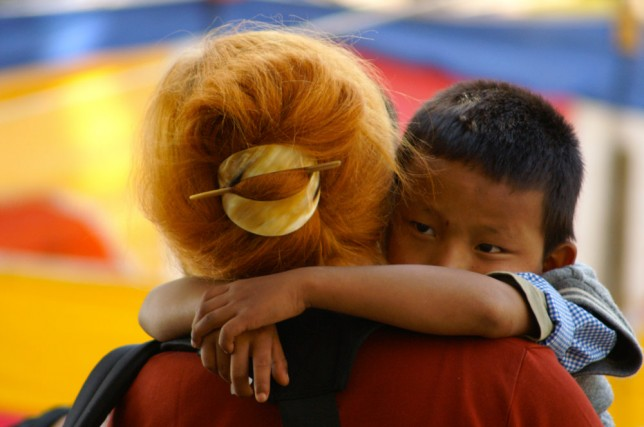 Femme et enfant tibetain Omalaya